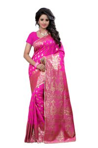 See More Self Design Art Silk Pink Colour Banarasi Saree With Blouse For Women Banarasi_1004_pink
