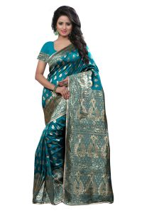 See More Self Design Rama Colour Art Silk Banarasi Saree With Blouse For Women Banarasi_1004_rama