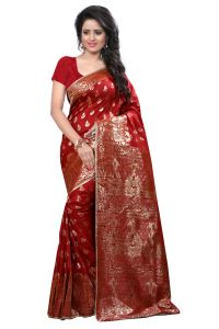 Triveni,Pick Pocket,Cloe,Arpera,V,See More Women's Clothing - See More Self Design Red Kanjivaram Art Silk Saree