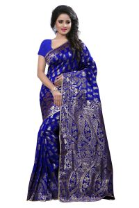 See More Self Design Blue Colour Art Silk Banarasi Saree With Blouse For Women Banarasi_1005_blue