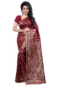 See More Self Design Maroon Colour Art Silk Banarasi Saree With Blouse For Women Banarasi_1005_maroon