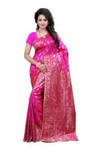See More Self Design Pink Colour Art Silk Banarasi Saree With Blouse For Women Banarasi_1005_pink