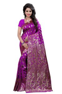 See More Self Design Purple Colour Art Silk Banarasi Saree With Blouse For Women Banarasi_1005_purple