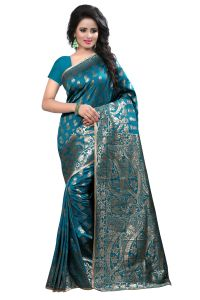 See More Self Design Rama Colour Art Silk Banarasi Saree With Blouse For Women Banarasi_1005_rama