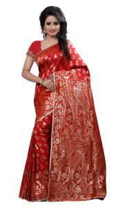 See More Self Design Red Colour Art Silk Banarasi Saree With Blouse For Women Banarasi_1005_red