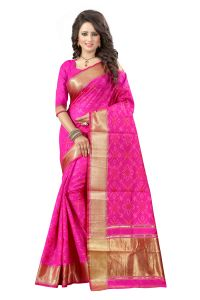 See More Self Design Rani Pink Color Banarasi Patola Saree Banarasi Patola 1 Rani