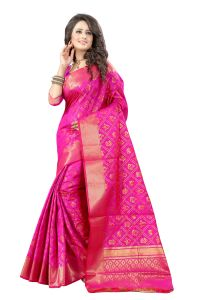 See More Self Design Rani Pink Color Banarasi Patola Saree Banarasi Patola 2 Rani