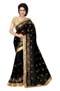See More Chiffon Sarees - See More Self Design Black Color Satin Chiffon Saree Bancidhar Black