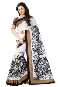 See More White And Black Color Printed Bhagalpuri Saree - ( Code - Bh-s-20-bl )