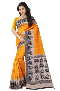 See More Yellow Color Printed Bhagalpuri Saree - ( Code - Bh-s-21-ye )