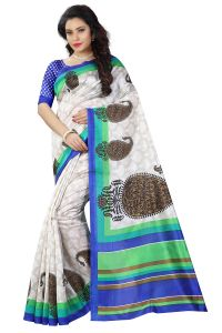 See More White And Blue Color Printed Bhagalpuri Saree - ( Code - Bh-s-22-bu )