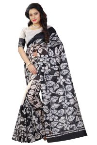 See More Black And White Color Printed Bhagalpuri Saree - ( Code - Bh-s-30 )