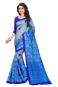 See More Blue Color Printed Bhagalpuri Saree - (code - Bh-s-51)