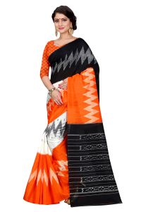 See More Orange Color Printed Bhagalpuri Saree - (code - Bh-s-61 Ob)