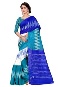 See More Turquoise Color Printed Bhagalpuri Saree - (code - Bh-s-61 Rb)
