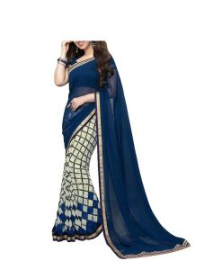 See More Blue And White Georgette Half Half Saree