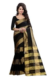 See More Self Designer Chiku Color Poly Cotton Saree With Blouse Piece Brahami Balck Chikku