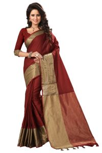 See More Cotton Sarees - See More Self Designer Maroon Color Poly Cotton Saree With Blouse Piece Dj 901 Maroon