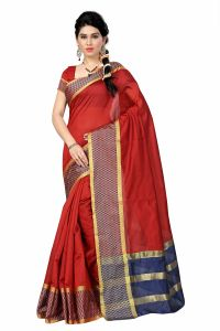 See More Self Designer Red & Blue Color Tussar Silk Saree With Blouse Piece Dobby Cheks Red