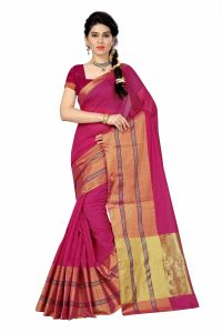 See More Self Designer Magenta & Gold Color Tussar Silk Saree With Blouse Piece Dobby Simple Magenta