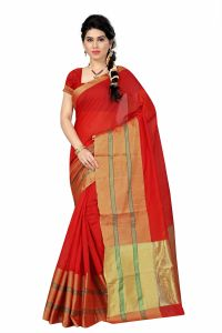 See More Self Designer Red & Golden Color Tussar Silk Saree With Blouse Piece Dobby Simple Red