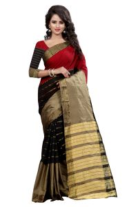 See More Self Designer Chiku Black Red Color Poly Cotton Saree With Blouse Piece Gagan Chiku Black Red