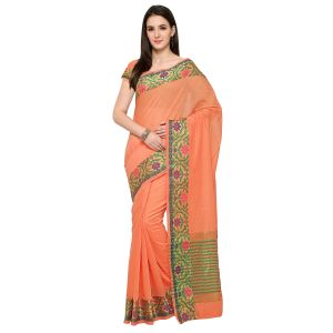 See More New Peach Colour Self Design Solid Poly Cotton Banarasi Saree Gauri Colorful Peach