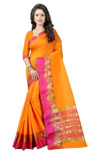 See More Self Design Orange Banarasi Poly Cotton Saree - Gauri Veni Orange