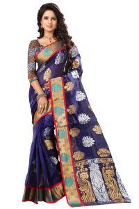 Sarees (Misc) - See More Self Designer Blue Color Kolam Patta Saree With Blouse Piece Haka Kolam 2 Blue