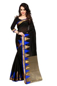 See More Self Design Black Blue Color Banarasi Saree Haka Piramid Blue. 01
