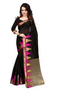 See More Self Design Black And Pink Color Banarasi Saree Haka Piramid Pink 01
