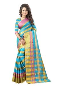See More Self Designer Sky Blue And Golden Color Tassar Silk Saree With Blouse Piece Manipuri 555 Sky Blue( Product Code - Manipuri 555 Sky Blue)