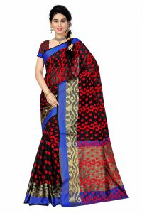 See More Self Designer Black And Red Color Poly Cotton Saree With Blouse Piece All Over Jal Black( Product Code - All Over Jal Black)