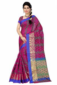 See More Self Designer Pink And Green Color Poly Cotton Saree With Blouse Piece All Over Jal Pink( Product Code - All Over Jal Pink)