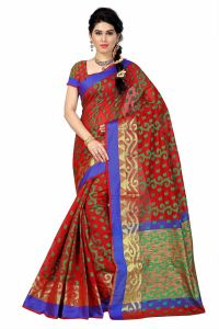 See More Self Designer Red And Green Color Poly Cotton Saree With Blouse Piece All Over Jal Red( Product Code - All Over Jal Red)