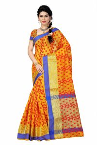 See More Self Designer Yellow And Red Color Poly Cotton Saree With Blouse Piece All Over Jal Yellow( Product Code - All Over Jal Yellow)