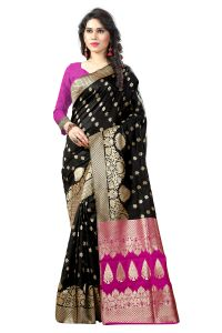 See More Self Designer Black And Pink Color Tassar Silk Saree With Blouse Piece Sathiya Banarasi 7 Black Pink( Code - Sathiya Banarasi 7 Black Pink)
