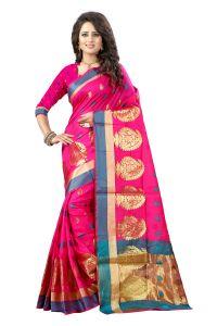 Cotton Sarees - See More Self Designer Pink And Golden Color Poly Cotton Saree With Blouse Piece Haka Mango Pink( Product Code - Haka Mango Pink)