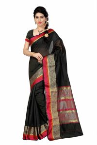 See More Self Designer Black And Golden Color Poly Cotton Saree With Blouse Piece Raj Border Black( Product Code - Raj Border Black)