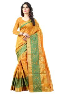 See More Cotton Sarees - See More Self Designer Yellow And Green Color Poly Cotton Saree With Blouse Piece ( Code - Sathiya Kanjivaram 1 Yellow Green)
