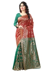 See More Self Designer Red And Green Color Tassar Silk Saree With Blouse Piece Sathiya Banarasi 5 Red Green( Code - Sathiya Banarasi 5 Red Green)