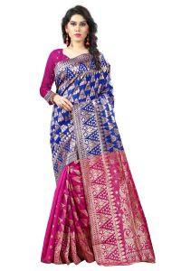 See More Self Designer Blue And Pink Color Tassar Silk Saree With Blouse Piece Sathiya Banarasi 8 Blue Pink( Code - Sathiya Banarasi 8 Blue Pink)