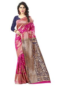 See More Self Designer Pink And Black Color Tassar Silk Saree With Blouse Piece Sathiya Banarasi 9 Pink Black( Code - Sathiya Banarasi 9 Pink Black)