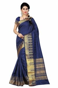 See More Self Designer Blue And Golden Color Tassar Silk Saree With Blouse Piece Singh 111( Product Code - Singh 111)