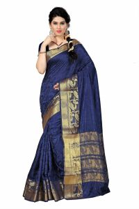 See More Self Designer Blue And Golden Color Tassar Silk Saree With Blouse Piece Singh 333( Product Code - Singh 333)