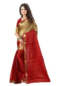 See More Self Designer Maroon And Chiku Color Poly Cotton Saree With Blouse Piece Dj Chikku Maroon( Product Code - Dj Chikku Maroon)