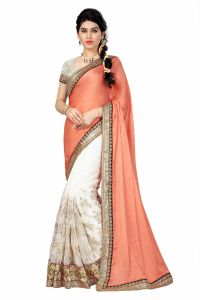 See More Sarees - See More Self Designer White And Beige Color Georgette Saree With Blouse Piece Designer White( Product Code - Designer White)