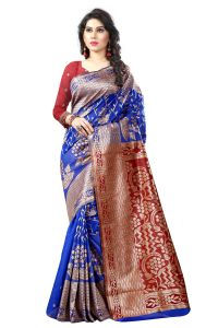 See More Self Designer Blue And Red Color Tassar Silk Saree With Blouse Piece Sathiya Banarasi 9 Blue Red( Code - Sathiya Banarasi 9 Blue Red)
