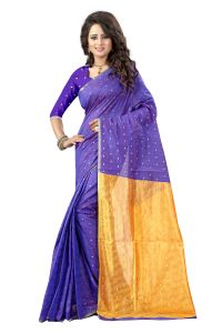 See More Self Designer Blue And Yellow Color Tassar Silk Saree With Blouse Piece Sathiya Butti Blue Yellow( Product Code - Sathiya Butti Blue Yellow)