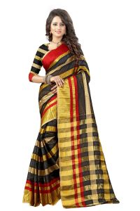 See More Self Designer Black And Golden Color Tassar Silk Saree With Blouse Piece Manipuri 555 Black( Product Code - Manipuri 555 Black)